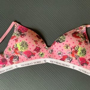 VS BRA 34B Pink Floral Cotton